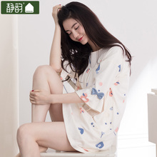 2017 nightgown women's spring new arrival juniors sweet sleepwear 100% cotton loose fifth sleeve lounge