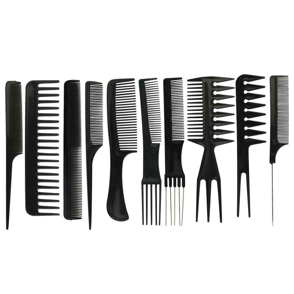 10Pcs/Set Hair Brush Comb Kit Salon Barber Anti-static Hair Combs Hairbrush Hairdressing Combs Hair Care Beauty Styling Tools