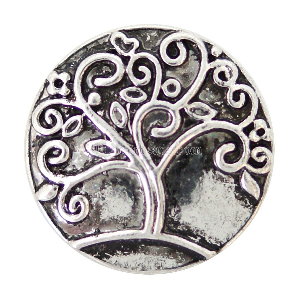 20MM tree snaps Antique Silver Plated with colorful rhinestone snaps jewelry KB6922