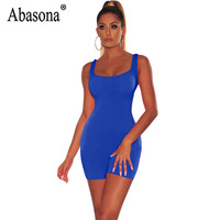df1d76d25e Abasona Women Solid Bodycon Playsuit Sexy Backless Short Rompers Women  Jumpsuits 2019 Summer Casual Sport Wear