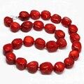 Hermosa piedra de jaspe Natural mar rojo coral 10-15mm perlas de Bohemia irregular venta caliente collar de cadena de la joyería 19 pulgadas MY3369