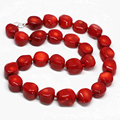 Natural red sea coral lovely stone jasper 10-15mm Bohemia irregular beads hot sale chain necklace jewelry making 19inch MY3369