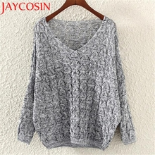 2017 Acrylic fibres knitted sweater for winter Women's Hollow Out  Bat Long Sleeve Loose V Collar Sweater J614