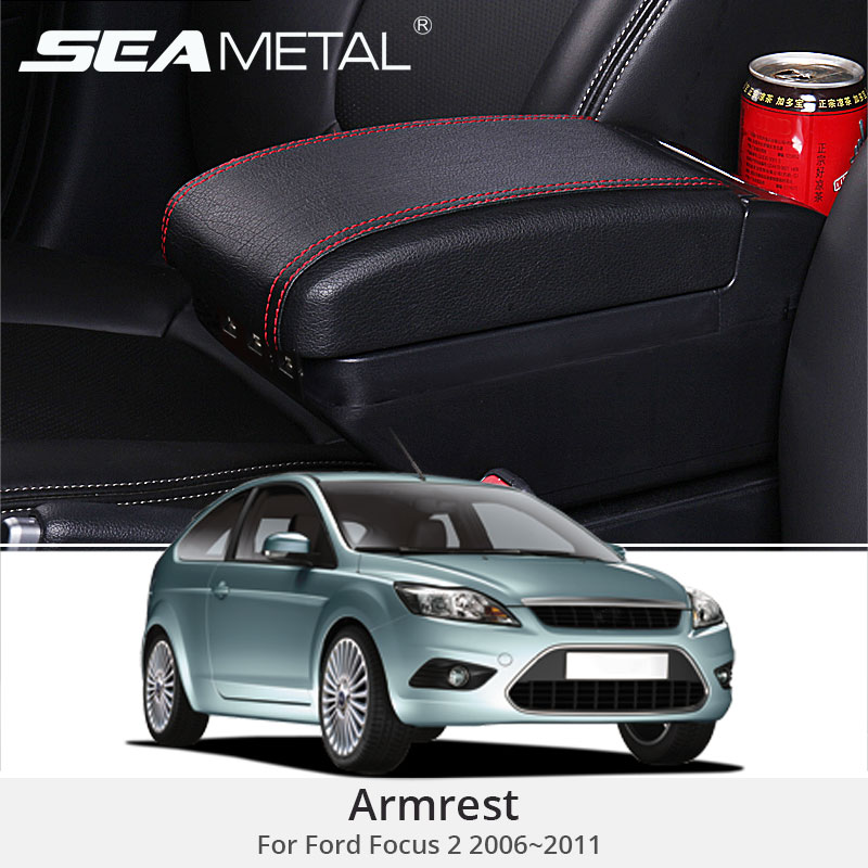 For Ford Focus 2 MK2 2014 Armrest Box Leather Central Armrest Console Box USB Auto Storage Car Organizer Accessories Car styling