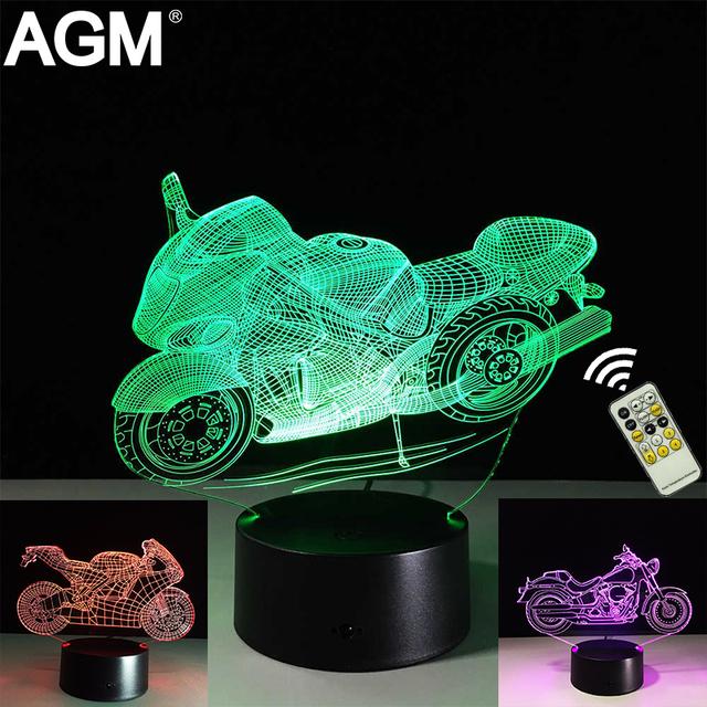 Motocicletas 3D USB candeeiro de Mesa LED Toque Remoto Bateria Noite lâmpadas de luz 7 Cores Em Mudança de Dormir Lampe Luz Do Motor Para presentes
