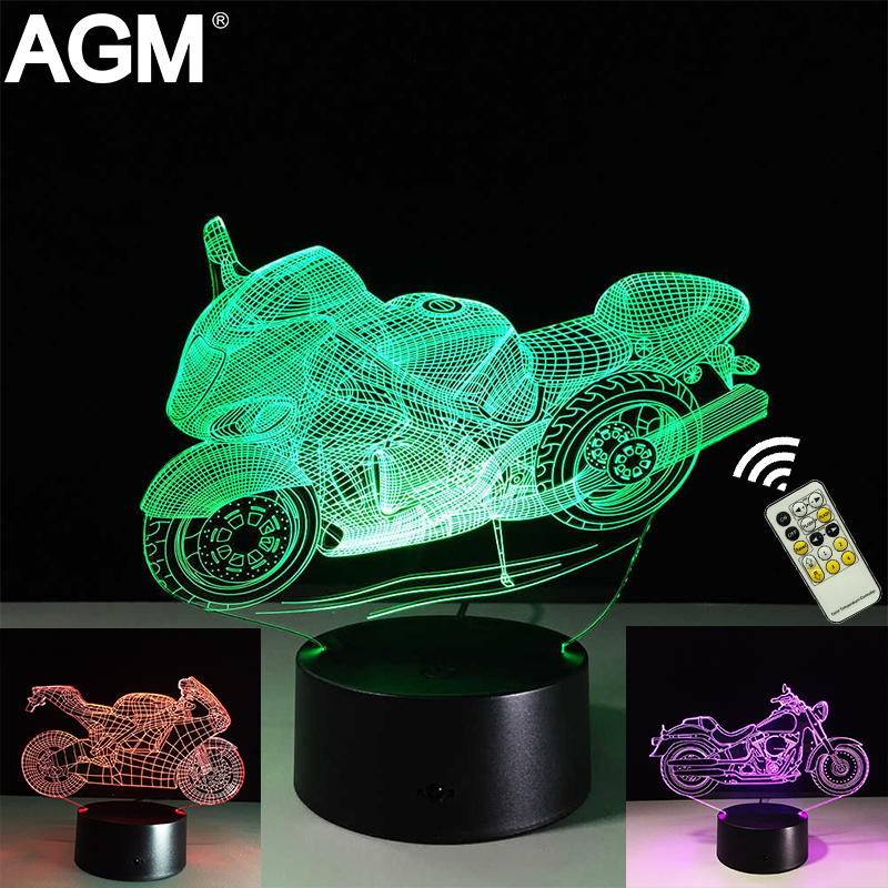 Motorcycles USB 3D lamps LED Night Light Table lamp Remote Touch Battery 7 Colors Changing Sleeping For Gift Decor Plaques Sign