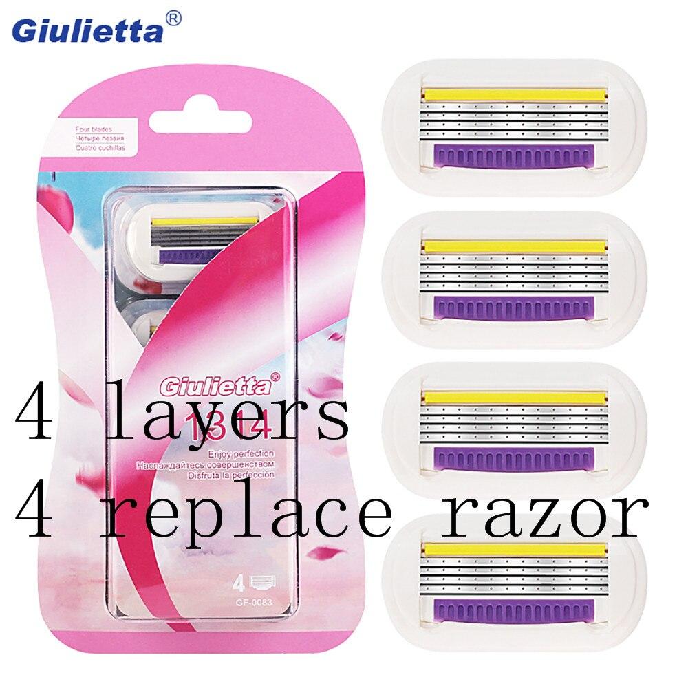 Giulietta Sharp Shaver 4pcs Razor Blades For Women Dedicated Manual 4-Layer Blade Compatible For Giulietta Shaving Handle