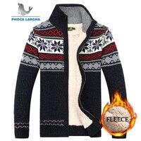Men Velvet Sweatercoat Winter pattern style Wool Cardigan Male Casual Thicken Warm fleece Sweater for Man Hombre size M 3XL