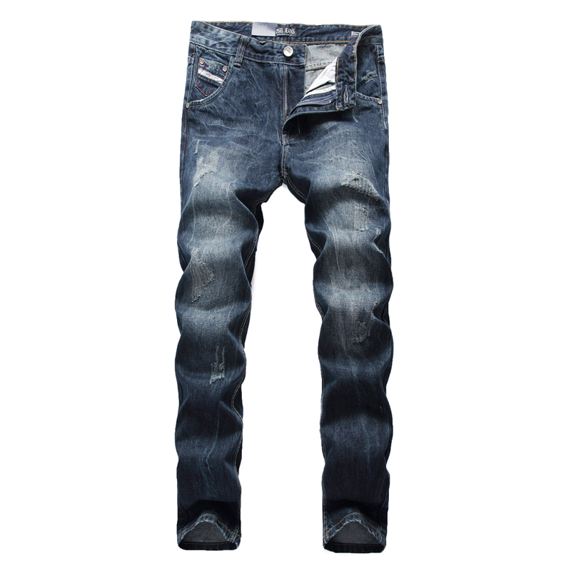 Dark Blue Jeans Men Designer Dsel Brand Clothing Slim Straight Denim Jean Male Trousers Plus Size Men`s Jeans Ripped SK07 patch jeans ripped trousers male slim straight denim blue jeans men high quality famous brand men s jeans dsel plus size 5704