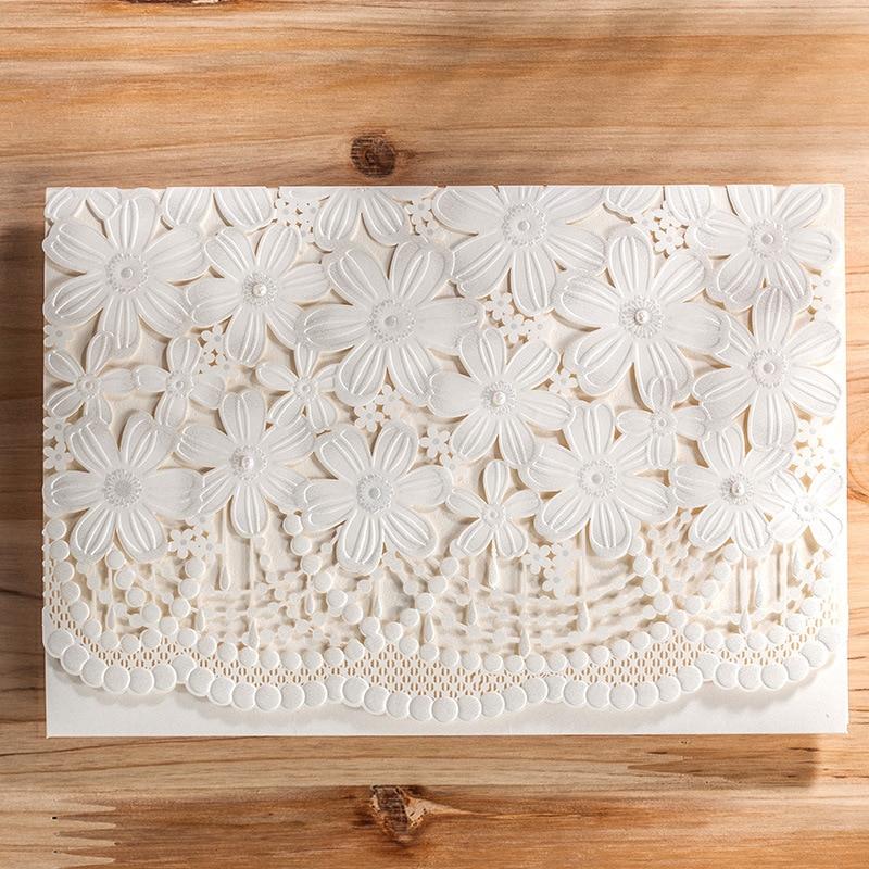 100 Piece Flower Flora Wedding Invitation Card With Envelope,White ...
