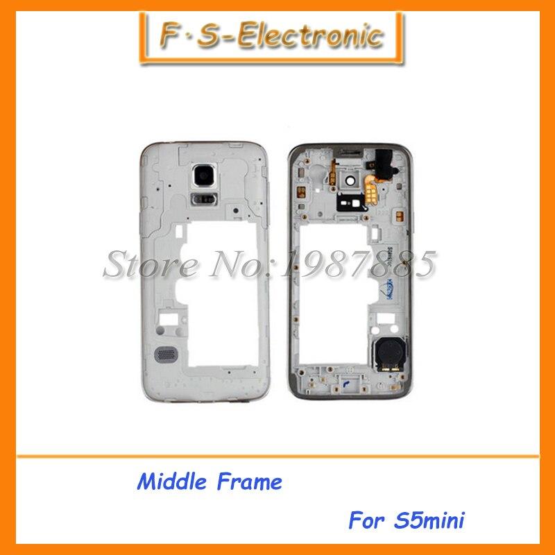 10 шт./лот Оригинал среднего ободок для Samsung Galaxy S5 Mini Корпус Средний Панель Рамки с Объективы для фотоаппаратов Стекло Бесплатная доставка