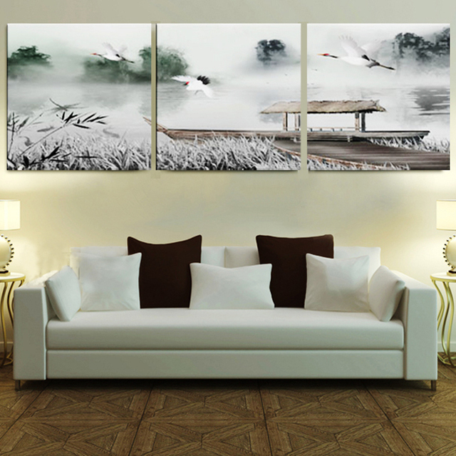 Framed 3 Panel Large 3 Part Wall Art Chinese Bedroom Sets Black And White  Home Decor