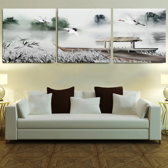 Online Shop Framed 3 Panel Large 3 Part Wall Art Chinese Bedroom ...