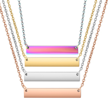 3pcs/lot Custom Name Blank Bar Necklace, Personalized Initial Necklace in Rose Gold Filled, Iridescent 4 Colors