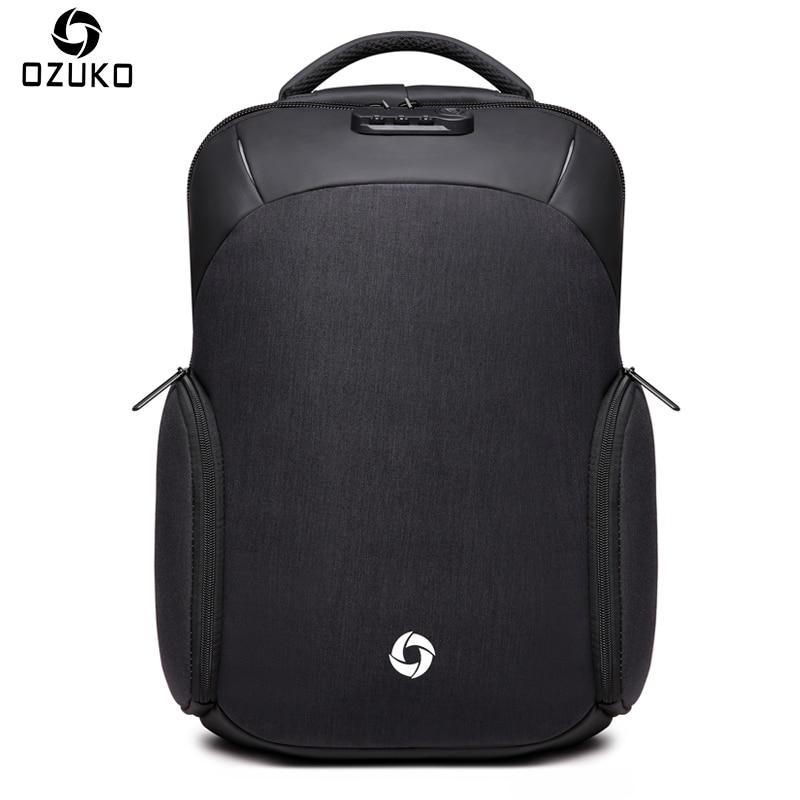 OZUKO Backpack Waterproof Male Mochila External USB Charge 15.6inch Laptop Backpack college Casual schoolbag Anti thief Backpack