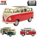 MZ 1:24 Alloy car model Volkswagen Bus Retro Style Sound and light back to children's toys