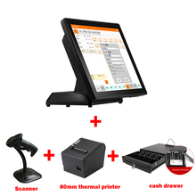 15 inch LED Display all in one cash register touch screen pos machine with thermal printer/1d scanner and cash drawer