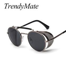 Trendymate ретро очки стимпанк Круглый Дизайнер пара панк металл щиты очки Для мужчин Для женщин UV400 gafas-де-сол 086 м