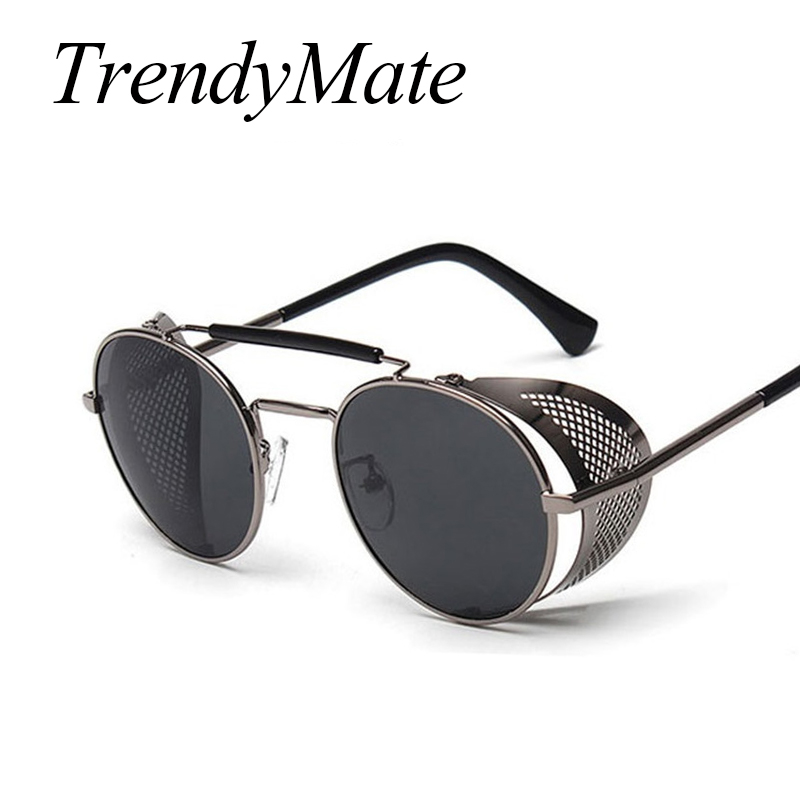 Trendymate retro Steampunk Gafas de sol ronda diseñador vapor punk metal escudos Gafas de sol hombres mujeres UV400 gafas de sol 086 M