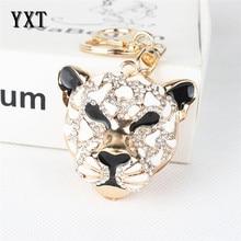 Hot Selling Leopard Head Crystal Rhinestone Charm Pendant Purse Bag Car Key Ring Chain Creative Very Good Gift