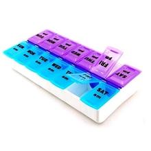 7 Days Pill Case Medicine Storage Tablet Pill Box With Clip Lids Medicine Organizer Pill Case Splitters Storage Dispenser Weekly