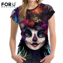FORUDESIGNS 3D Skull T-shirt Women t-shirt Black Cat Printing Femme Tops Young Girls Casual T Shirts Street Style Tshirts Ladies