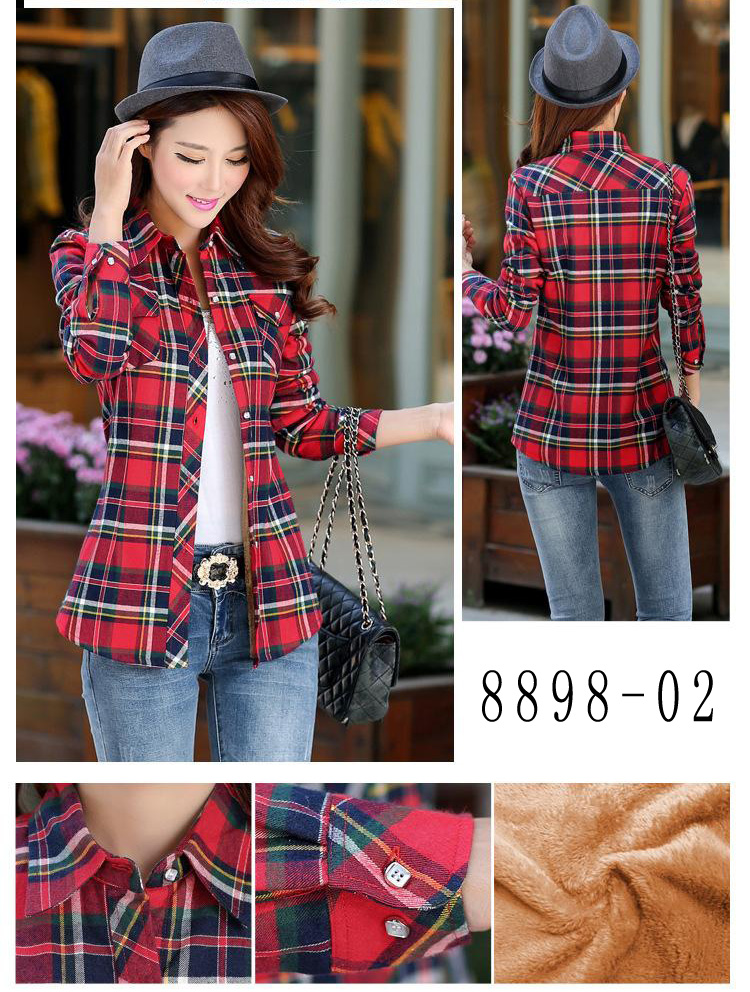 HTB1dxRyRVXXXXXsXVXXq6xXFXXX6 - Velvet Thick Warm Women's Plaid Shirt Female Long Sleeve