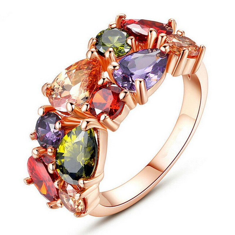 SHUANGR Unique Design Rose Gold Color Ring for Women Female Wedding with AAA Colorful