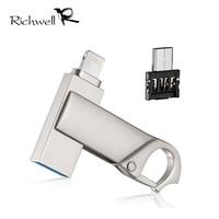 Richwell Flash Drive 16g 32 gb 64 gb Pen Drive Usb Micro Relâmpago/Otg Usb Flash Drive Para iPhone 5/5S/5c/6/6 Plus/ipad/iphone 7