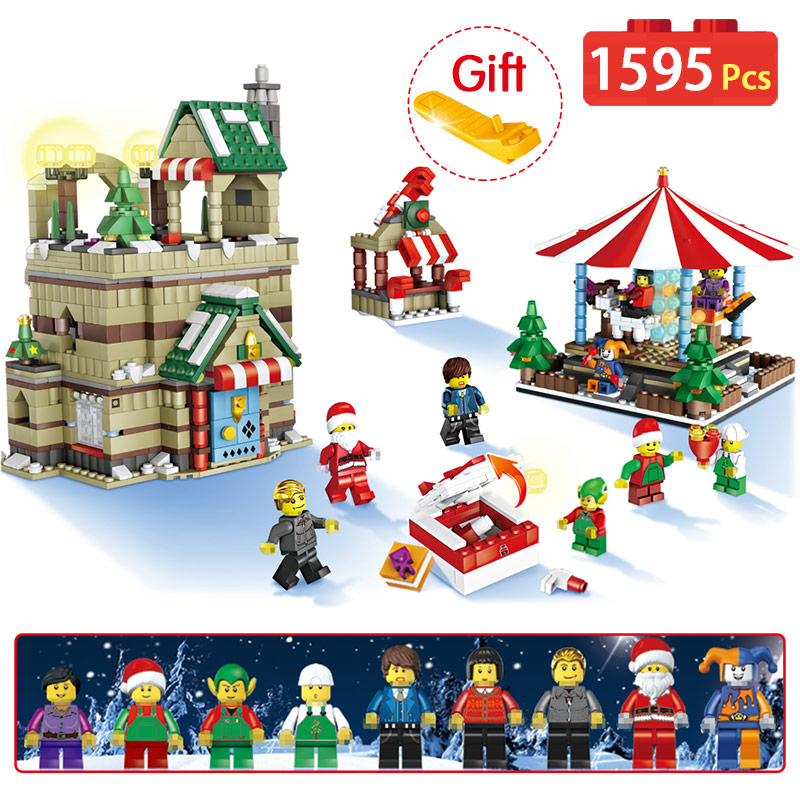 1595Pcs Christmas Series Compatible Legoingly Christmas Winter Village Carousel Santa Reindeer Building Bricks Blocks Toys Gift