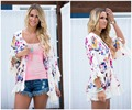 2016 autumn sweater sexy Three quarter sleeve cardigan tassel kawaii floral printed poncho open stitch sweater women