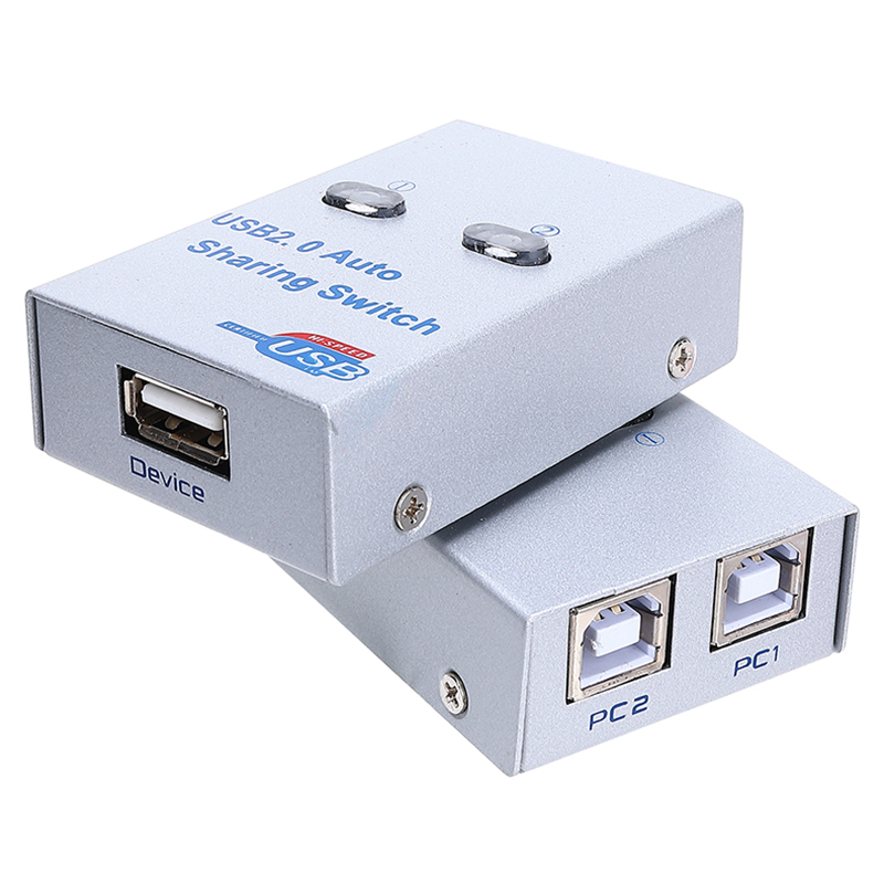 USB 2.0 Splitter Auto Sharing Switch For 2 PC Computer Printers 2 Port Hub Switcher 2 Hosts Share One Printer USB Sharer