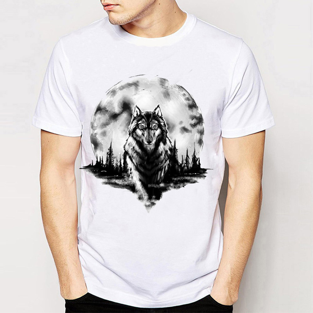 Wolf T-shirt snarling Homme Animal Lone Pack got game of thrones Camping TOP