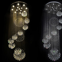 Modern Large Crystal Ceiling Light Fixture For Lobby Staircase Stairs Foyer Long Spiral Crystal Light Lustre