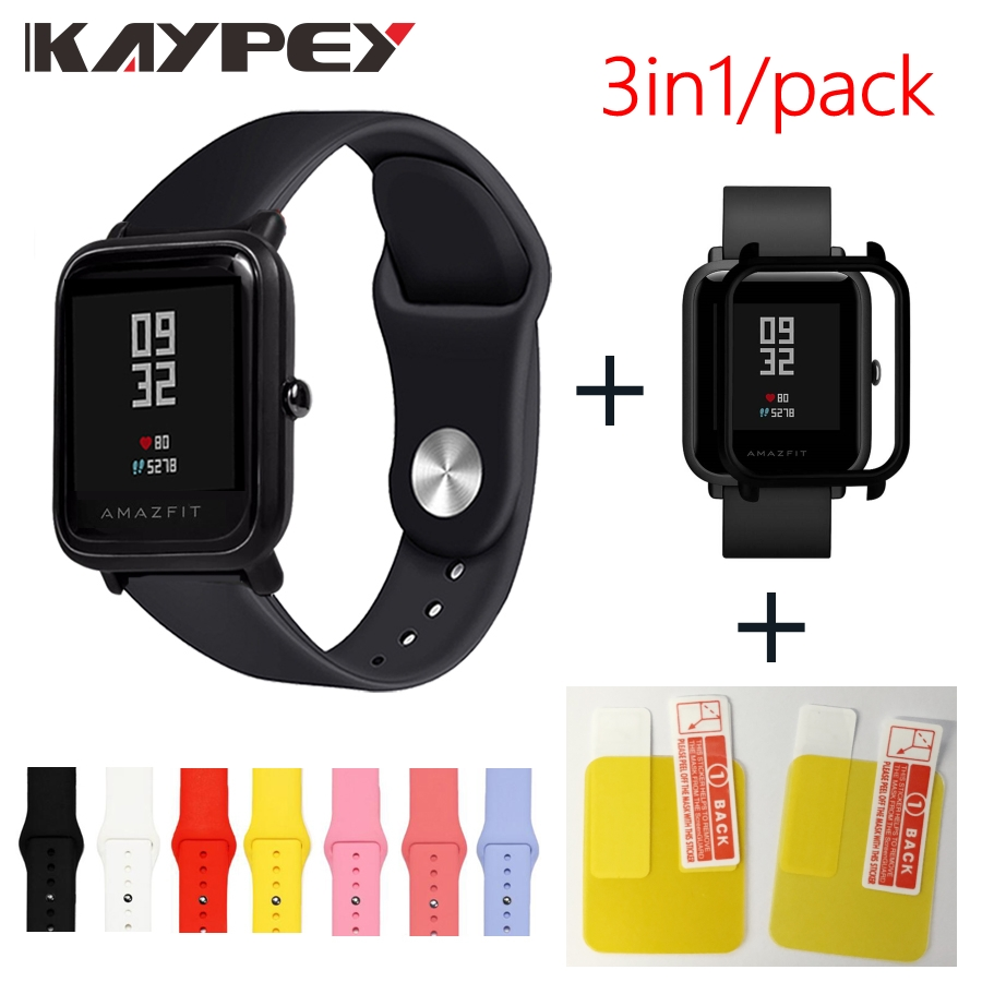 Soft Silicone Wrist Strap With Full Protective Watch Cases For Xiaomi Huami Amazfit Bip BIT 20mm Watch Strap Resin Watch Cover
