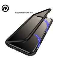 WK Magnetic Adsorption Case for iPhone 7 7P Luxury Magnet Metal Aluminum Phone Tempered Glass Cover for iPhone 8,8P X