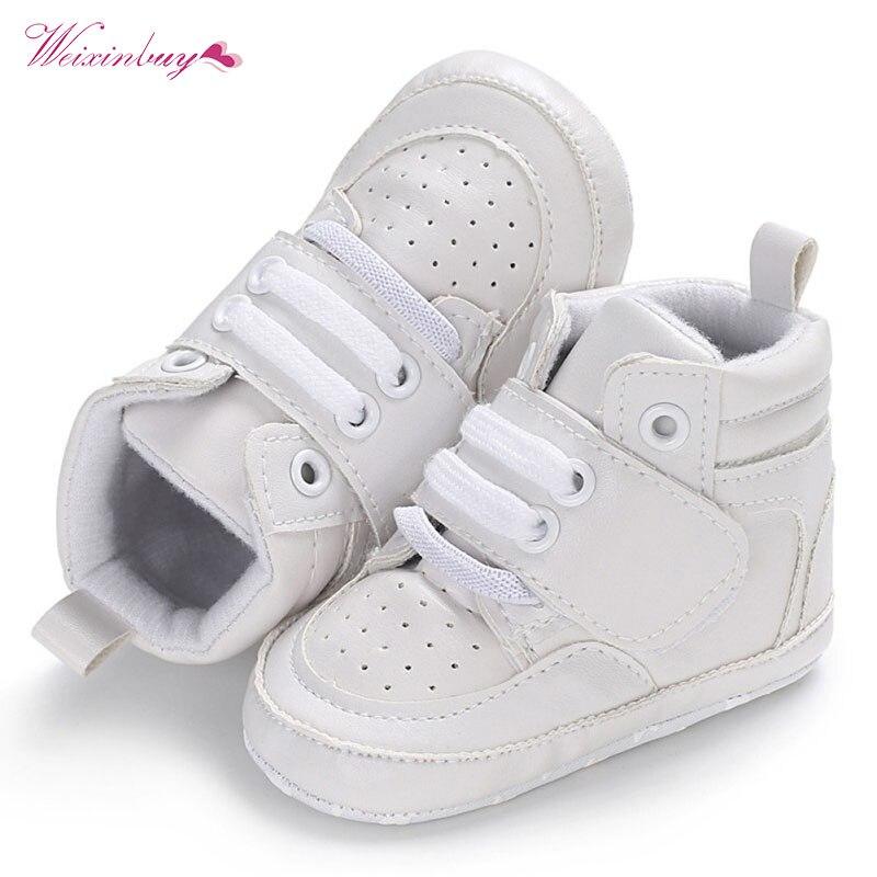 Baby Boys Shoes Newborn Kids Sneakers High Top Solid Soft Sole First Walker Infant Toddler Antislip Prewalker Crib Shoe