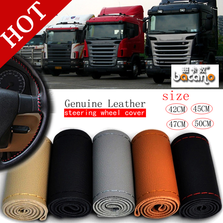45cm Coffee Genuine Leather DIY Car Truck Bus Steering Wheel Cover Needle Thread