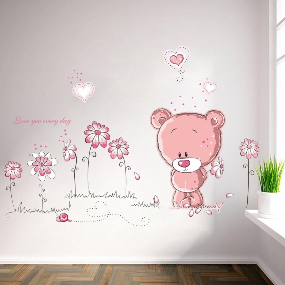 & Leuke Roze Cartoon Dier Liefde Beer Bloem Baby Kinderen Slaapkamer Room Decor Muurstickers Kids Nursery Decal Sticker Meisje Gift
