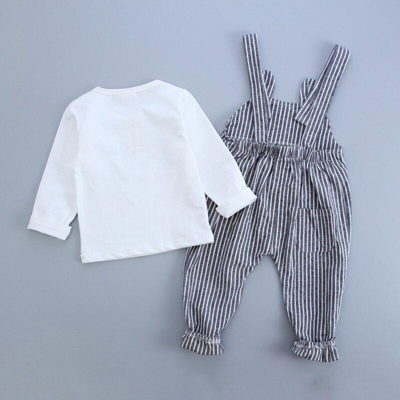 2018 Autumn Baby Girls Boys sets Clothes T-shirt+Stripe Suspender Pants Cartoon Kids Clothing Fashion Long Sleeve Girls set