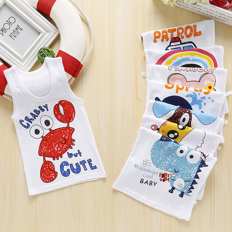 2019 Summer Boys T-Shirt Cartoon Kids Underwear Sleeveless Cotton Girls Undershirts Baby Camisole Shirts for Children Clothing(China)