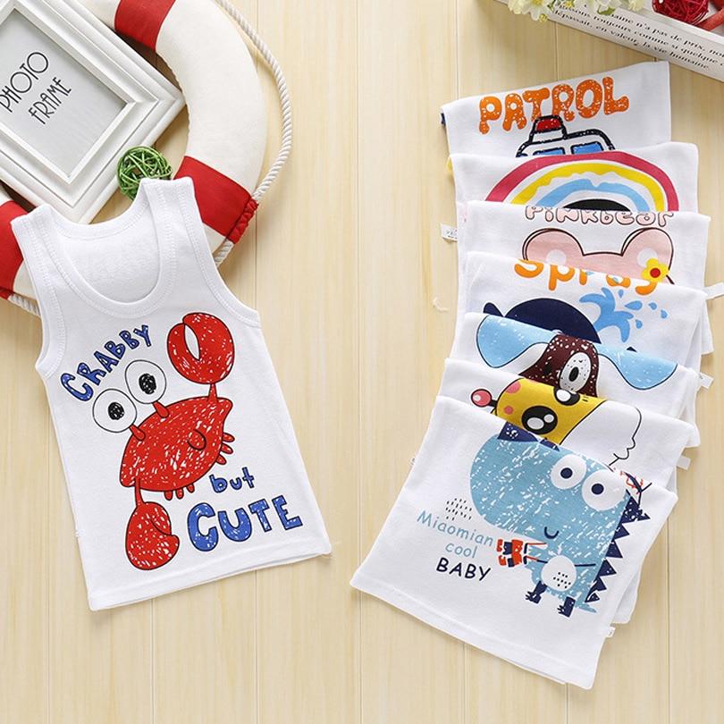 2019 Summer Boys T-Shirt Cartoon Kids Underwear Sleeveless Cotton Girls Undershirts Baby Camisole Shirts For Children Clothing