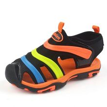 2017 Summer new style Children boys sandals shoes Genuine Leather cut-outs kids canvas rain breathable flats