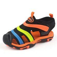 цена 2017 Summer new style Children boys sandals shoes boys Genuine Leather cut-outs kids canvas rain sandals breathable flats shoes онлайн в 2017 году