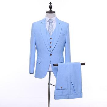 FOLOBE Slim Fit Men Suits For Wedding One Button Light Blue Mens Formal Suits Spring Autumn 3 Piece Suit (Jacket+Pants+Vest)
