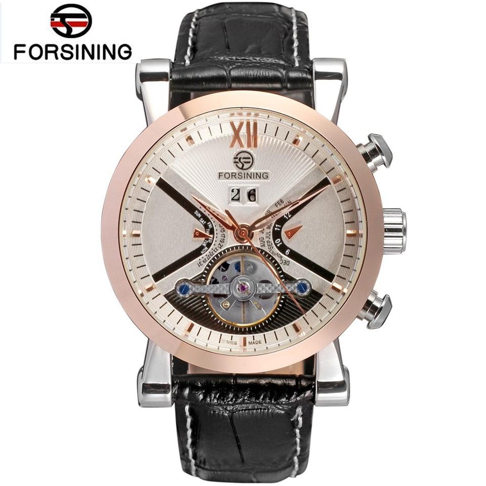 Forsining marca mens relojes mecánicos reloj de cuero rosa de oro caso negro tourbillon hombres Relojes