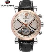 Marca FORSINING  relojes para hombre  reloj mecánico de cuero  funda negra oro rosa  Tourbillon  relojes para hombre