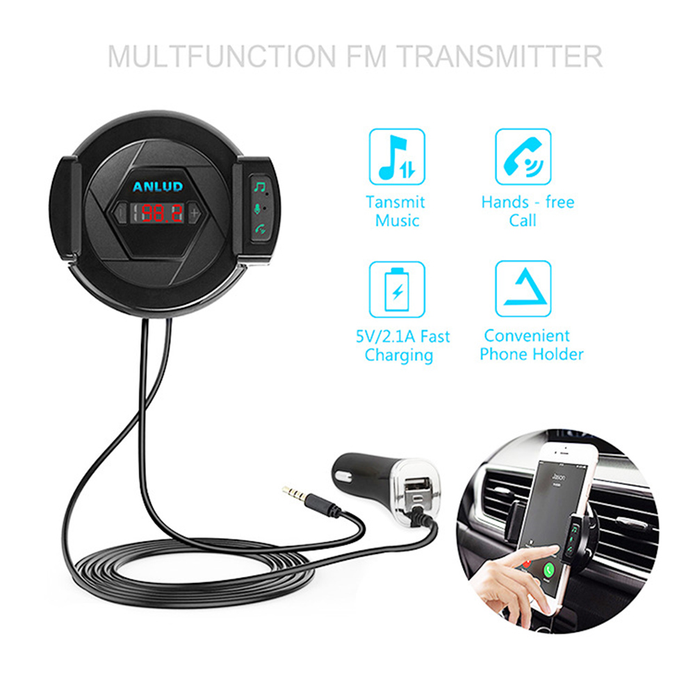Car Bluetooth Handsfree Kit Car Charger FM Transmitter Car Bluetooth Mobile Phone Stand 3 in 1 Multi Purpose Transmit