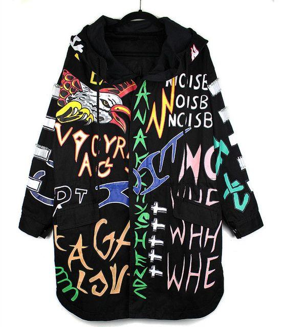 Primavera Otoño Ejército Verde Trench Coat calle Harajuku Carta Llama Imprimir Graffiti Hip hop Con Capucha de Algodón outwear Trench Coat 91101