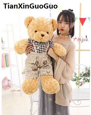 large 80cm cartoon teddy bear plush toy lovely dressed cloth bear soft doll throw pillow birthday gift b0747 cute cartoon ladybird plush toy doll soft throw pillow toy birthday gift h2813